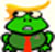 Trump cartoon frog glancing helplessly around